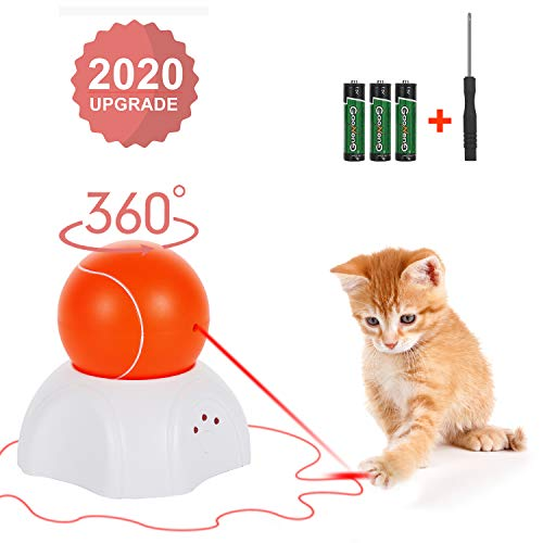 OLEY Interactive Cat Toy - Moving Laser Ball Interactive Toys for Indoor Cats - Automatic Cat Toy with 360-Degree Rotating Light - Automated Electronic Kitty Exercise Hunting Toys - 3 Speed Modes