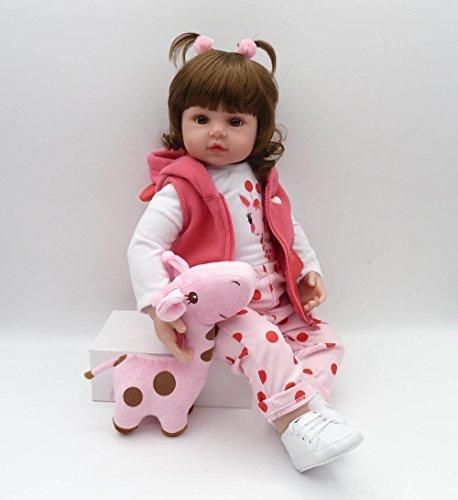 Pinky Reborn Bambole 18 Pollici 45 cm Reborn Baby Doll Sembra Reallife Bebe Reborn Dolls con Fibra d'oro Capelli Bambino Giocattoli di Simulazione Regali Brithday Regalo di Natale (18Inch)