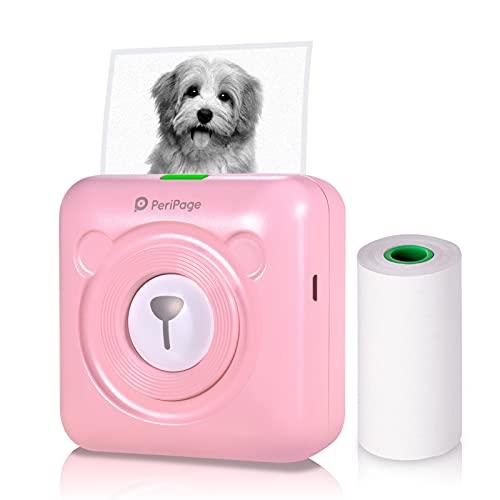 Aibecy1 Mini Impresora para movil,peripage Mini Pocket Impresora térmica inalámbrica BT Image Etiquette Photo Mémo Impresora recibo con Cable USB Toma de Carga de Smartphone Android iOS (Rosa)