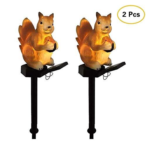 KTDT 2 Stück Solar LED Eichhörnchen Rasenleuchte, Solarbetriebene Wegeleuchten, Solar Gartenleuchten im Freien, Landschaftsbeleuchtung für Rasen/Terrasse/Hof/Gehweg/Auffahrt