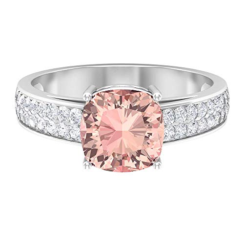 2.50 CT Engagement Ring with Cushion Cut Lab Created Morganite Solitaire and Moissanite Accents (Heirloom Quality), 14K White Gold, Size:UK W