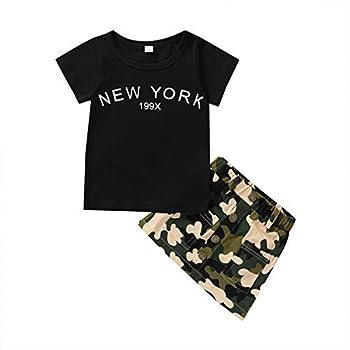 MDENOVO Baby Girl Skirts Set Outfit Toddler Suit Black T-Shirt Top + Camo Denim Skirt Summer Clothes Soft 2Pcs Set for Kids Black+Camo 2-3T