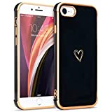 LLZ.COQUE Compatible with iPhone 7 Plus iPhone 8 Plus Girls Women Cute Heart Shape Slim Hybrid Bumper Shockproof Anti-Scratch Drop Protection Soft TPU Back Case Cover - Black