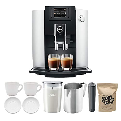 Jura 15070 E6 Automatic Coffee Center, Platinum Includes Milk Container, Smart Filter, Coffee, Pitcher and Espresso Cups Bundle (7 Items)