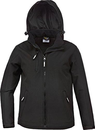Kinder - Softshelljacke -Übergangsjacke-Wetterjacke + abnehmbare Kapuze schwarz Gr.98-164 (134/140)