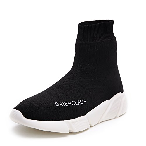 SIKAINI Damen Stiefel Leichte Atmungsaktive Casual Turnschuhe Slip-on Walking Schuhe Socks Schuhe Sportschuhe Schwarz