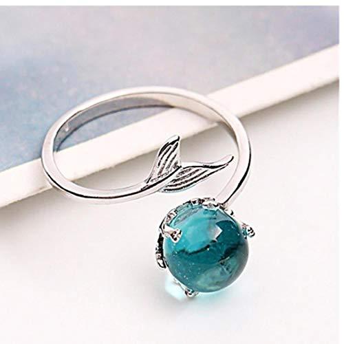1pc Verstelbare Finger Ring Mermaid Open Ringen 925 Sterling Zilveren Wrap Around Twisted Rope Band Rings (blauw)