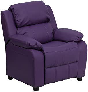 Flash Furniture Deluxe Padded Contemporary Purple Vinyl Kids Recliner with Storage Arms, BT-7985-KID-PUR-GG