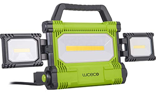 LUCECO krachtige ultraplatte accu LED bouwlamp 5000 lm/50 watt. zwart-groen