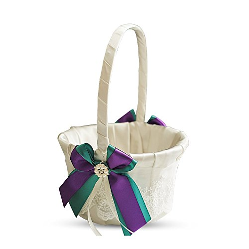 Alex Emotions Ivory Ring Bearer Pillow and Basket Set | Lace Collection | Flower Girl & Welcome Basket For Guest | Handmade Wedding Baskets & Pillows (TEAL PURPLE)