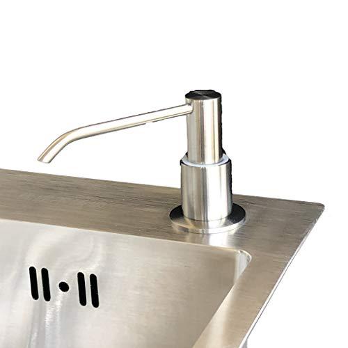Dongxiao Bomba de Jabón Dispensador de jabón Manual de Acero Inoxidable Dispensador de lavavajillas para lavavajillas Papelera de jabón de Mano Botella de rotación 360 ° 10.1OZ