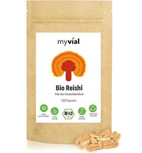 myvial® Bio Reishi Kapseln 120 Stück vegan | 60-Tage-Vorrat | 400mg pro Kapsel | 100% rein und natürlich | plastikfrei verpackt | Ganoderma lucidum | Glänzender Lackporling | ling zhi | Vitalpilz
