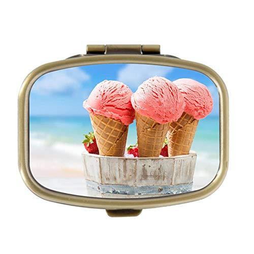 Pill Box - Close Up aardbei ijs crèmes - Decoratieve Pill Case met geschenkdoos - Pocket Rechthoekige Brons RVS Medicine Tablet Houder Organizer Pill Case voor portemonnee