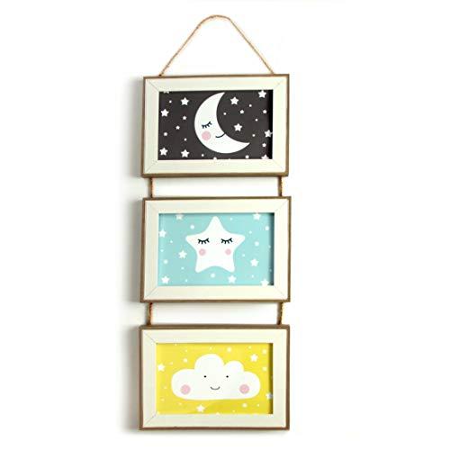 Babyzimmer Deko Bilder Kinderzimmer Poster Junge Mädchen mit Holz Rahmen - gerahmt und fertig zum aufhängen - Motiv Mond Wolke Stern
