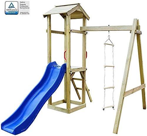 Arichtop vidaXL Spielturm mit Rutsche und Leitern 237 x 168 x 218 cm Holz