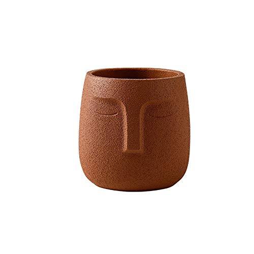 ZSJZSJ Flower Pot, Indoor Outdoor Head Planter Pot Ceramic Succulent Planter Vase Human Face Planter, Artwork for Home Office Decor Gift Idea,Brown-S