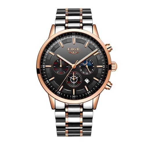 LIGE Relojes para Hombre Moda Acero Inoxidable Deportivo Analógico Reloj Cronógrafo Impermeable Negocios Reloj de Pulsera (Gold Black)