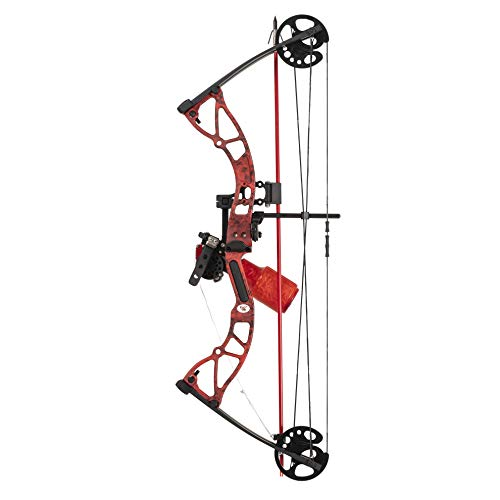 Cajun Bowfishing Shore Runner Ext Compound Bowfishing Bow Ready to Fish Kit with Brush Fire Arrow Rest, Bowfishing Bottle Reel, Blister Buster Finger Pads, Fiberglass Arrow, Red, One Size
