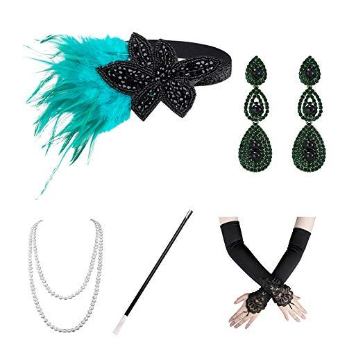 Xuhan 1920s Flapper Costume Accessories Set for Women Headband Necklace Gloves Cigarette Holder (Set-53)