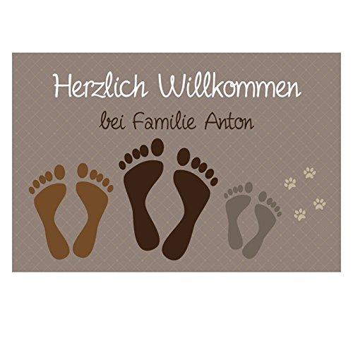 4you Design Fußmatte Füße & Pfoten mit Namen - Fußabtreter - Geschenkidee Geschenk Familie (braun 3-Fußpaare)