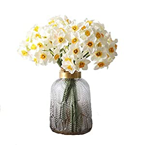 UUPP Artificial Daffodils Flowers 15.8 Inches Spring Flower Fake Silk Flower Arrangement for Home Wedding Decor, White