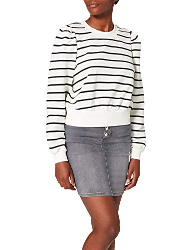 Only ONLBALOU Life L/S SWT Suter Pulver, Cloud Dancer/Stripes: Negro, XS para Mujer