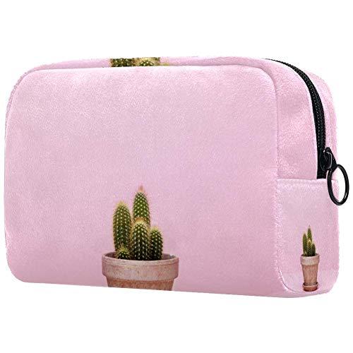 Kleine Cactus In Een Bloempot Op Een Roze AchtergrondKleine Make-up Tas voor portemonnee Reizen Make-up Pouch Mini Cosmetische Tas voor Vrouwen
