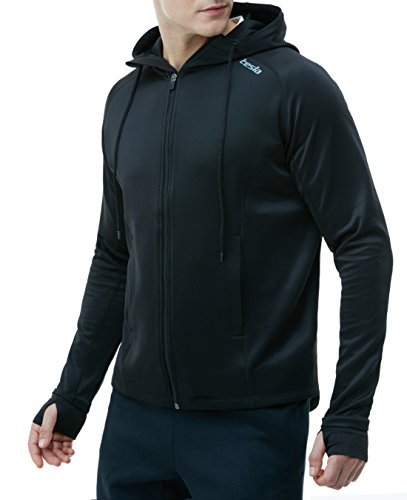 Tesla CLSL TM-MKJ01-BLK_Large Men's Performance Active Training Full-Zip Hoodie Jacket MKJ01