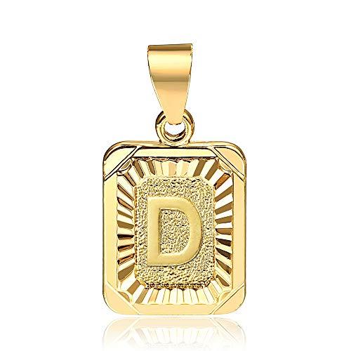Hermah Gold Plated Charm Pendant Initital Capital Letter D Mens Womens Pendant Square Charm Fashion
