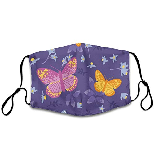 NiYoung Adults Boys Girls Dustproof Windproof Face Mask for Cycling, Reusable Mouth Scarf with Adjustable Elastic Strap (Bright Butterflies Leaves Mouth Shields)