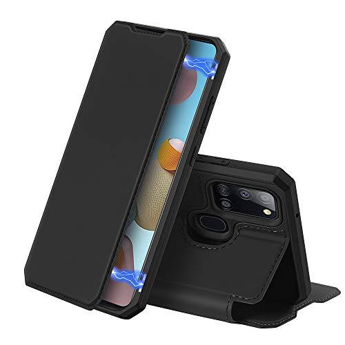 DUX DUCIS Hülle für Samsung Galaxy A21s, Premium Leder Magnetic Closure Flip Schutzhülle handyhülle für Samsung Galaxy A21s Tasche (Schwarz)
