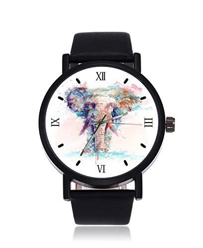 Elephant Art Tumblr Reloj de Pulsera analógico de Cuarzo, Correa de Cuero de Acero Negro, para Mujeres y Hombres