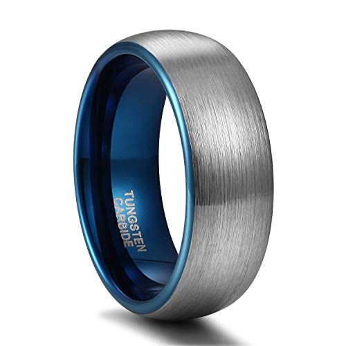 Titaniumcentral 6mm/8mm Wolframcarbid Ringe Gebürstet Trauringe Verlobungsringe (Blau(8mm), 61 (19.4))