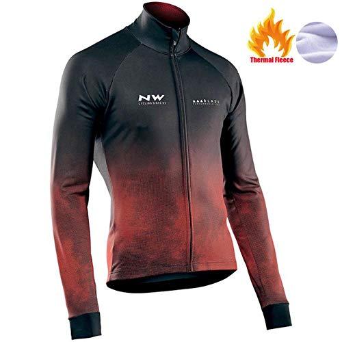 AJSJ Northwave Chaud 2019 Hiver Polaire Thermique Vêtements De Cyclisme Nw Costume pour Hommes en Plein Air Équitation Vélo VTT Vêtements Bavoir Pantalon Ensemble, Pic Couleur, XL