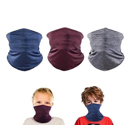 3 Pack Kids Cooling UV Protection Neck Gaiter Cooling bandanas Scarf Boy Girl for Sport Outdoor(blue red grey)