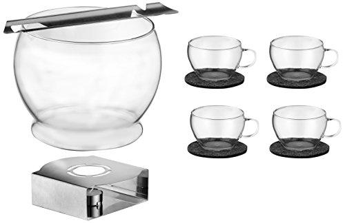 Bohemia Cristal 093 006 114 SIMAX Feuerzangenbowleset 11 teilig, 1 Bowlekörper ca. 3,5 ltr. aus hitzebeständigem Borosilikatglas + 4 Bowletassen ca. 250 ml aus hitzebeständigem Borosilikatglas + 4 Filzuntersetzer (100 % Polyester) + 1 Feuerzange aus Edelsthal +       1 Stövchen aus Edelstahl