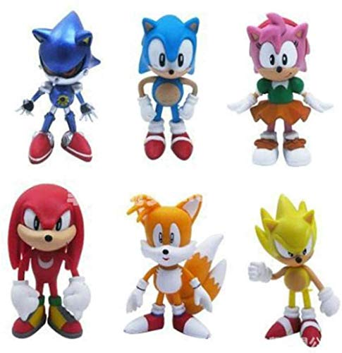 LIKEJJ Sonic Figures Toy 6Pcs / Set PVC Toy Sonic Shadow Tails Personajes Figura Juguetes Muñeca Hecha a Mano Muñeca Decoración para niños Animales Juguetes Set-in Box