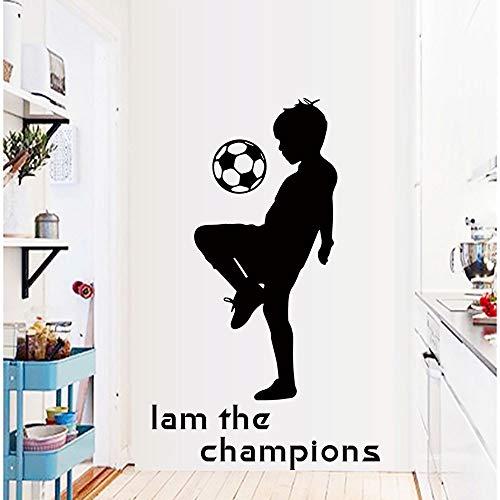 mlpnko Football Boy Room, ich Bin der Champion Wandaufkleber Fußballraum für Kinder, die Abziehbilder sind abnehmbar,CJX12951-88x53cm