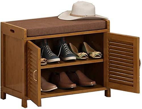 Zapatero de bambú para zapatos, taburete moderno, simple y sencillo, para el hogar, para el sofá, de madera maciza, taburete de almacenamiento