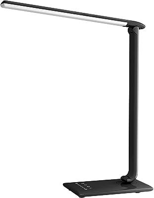 Lampe de Bureau LED, Lampe de Table 12 W Led Pliable Avec Contrôle Tactile, 5 Modes et 7 Niveaux pour Lecture/Travail, Sortie Usb, Mini Veilleuse, Minuterie de Contrôle de Luminosité Réglable, Noir