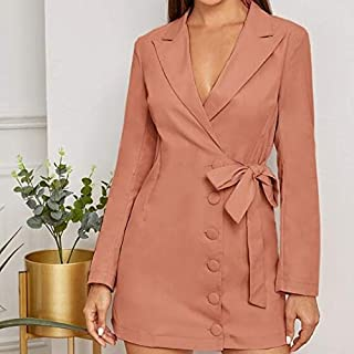 Haweel Fashion Simple Side Single-Breasted Female Temperament Suit Dress (Color:Orange Size:S) Elegant Dress