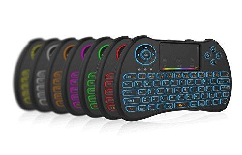 (Versione retroilluminata) Ovegna H9i : Tastiera remota wireless QWERTY retroilluminata con touchpad per PC Mini, console, Banana PI, Raspberry PI, TV Box Android, KODI, Windows 10