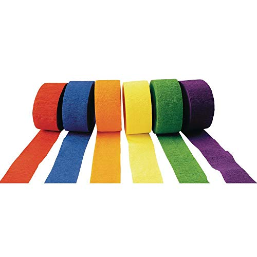 Colorations Crepe Paper Streamers, Bright Colors - Set of 6 (Item # STRMRS)