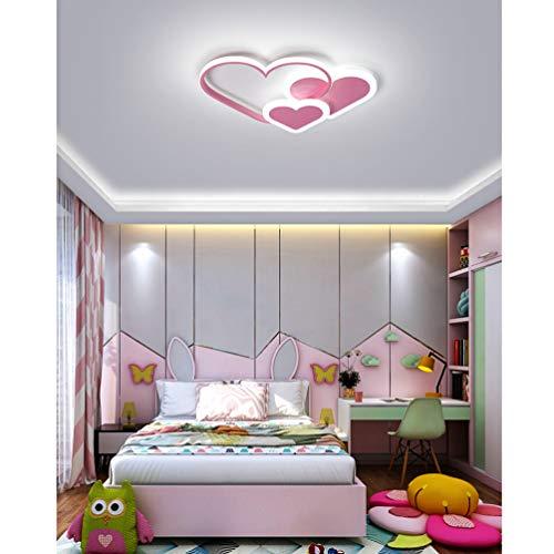 LED Lámpara de techo de salón en Forma de Corazón Regulable Cuarto de Los Niños Luz de Techo Plafón de Dormitorio de Rosa Niña Luces de Pareja Moderna Decor Diseño Acrílico Control Remoto 3000