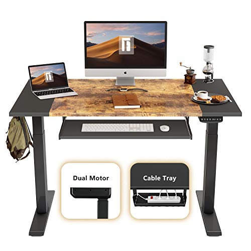 top 10 height adjustable desk FEZIBO electric high table, double motor, height adjustable, 48 x 24 inch, full seat stand.
