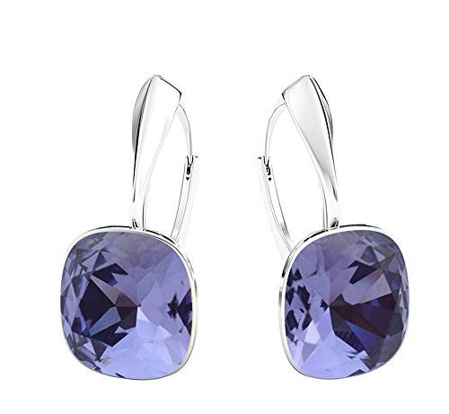 Crystals&Stones - Meravigliosi orecchini quadrati, grandi, diversi colori disponibili, in argento 925, con cristalli Swarovski Elements, da donna e Argento, colore: Tanzanite, cod. 7