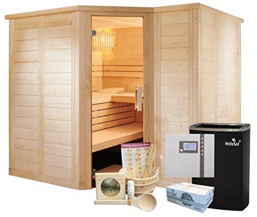 Well Solutions Saunakabine Polaris inklusive Saunaofen, Saunasteuerung und Zubehör   Finnische...