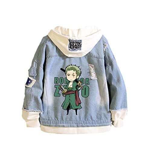 YZJYB Anime One Piece Chaqueta Vaquera Hoodie Denim Jacket Unisexo Sudadera con Capucha Jeans Sweatshirt Abrigo Roronoa Zoro Disfraz de Cosplay,Roronoa Zoro,4XL