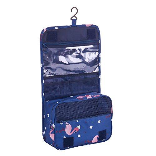 Shopper Joy Beauty Case da Viaggio da Appendere Borsa da Toilette Organizer per Uomo Donna - Blu Scuro + Fenicottero