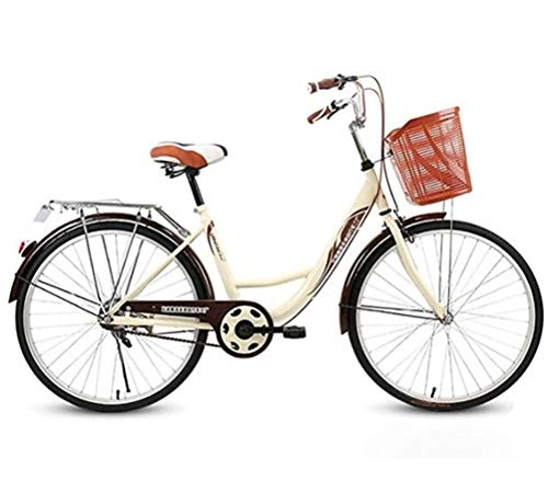 LHY Damen 26 Zoll Beach Cruiser Bike, klassisches Eisenfahrrad mit Korb für Studenten, Single Speed Vintage holländisches Fahrrad Retro-Fahrrad Seaside Travel Bicycle Art-Deco-Scooter-Rennrad